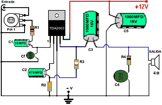 Esquema del amplificador con TDA2003