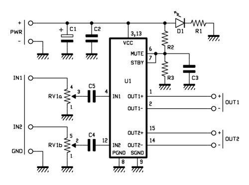 Esquema del amplificador 15w stereo