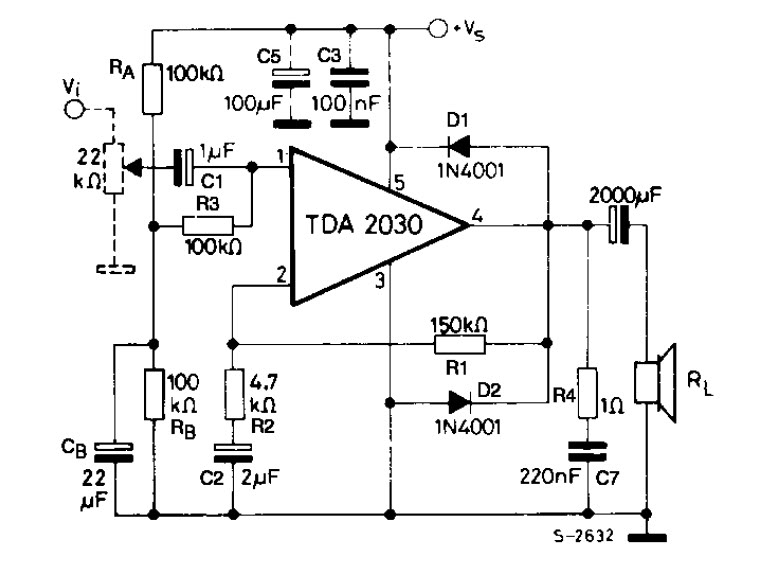 Esquema del amplificador tda2030