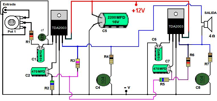 Gráfico del amplificador con TDA2003 en puente