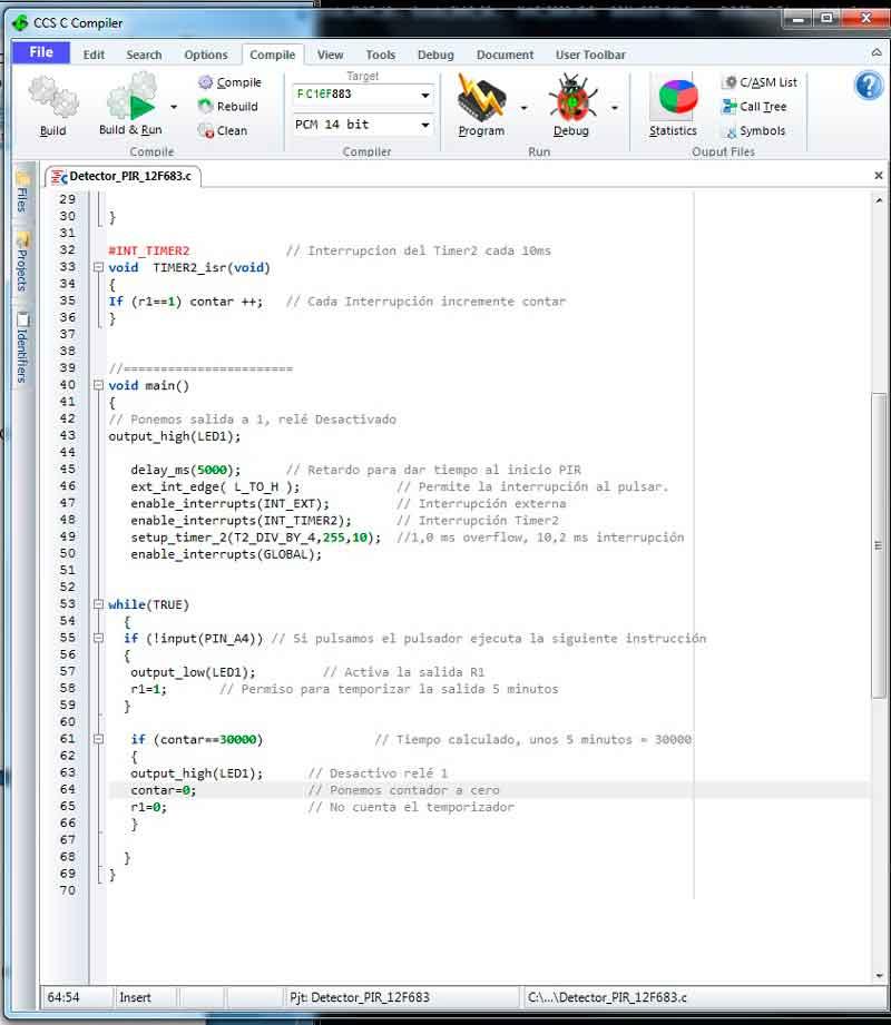 Compilador CCS con el proyecto
