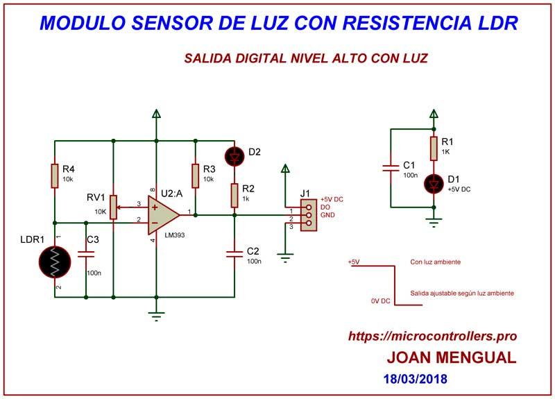 Modulo sensor de luz con fotorresistencia LDR