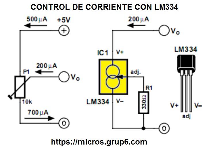 Control de corriente con LM334