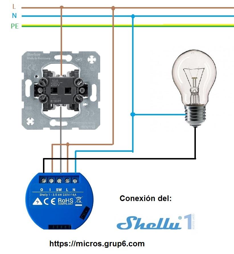 Shelly 1 con pulsador esquema