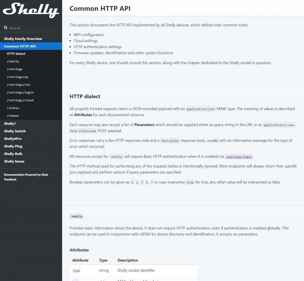 API REST bien documentada del Shelly 1