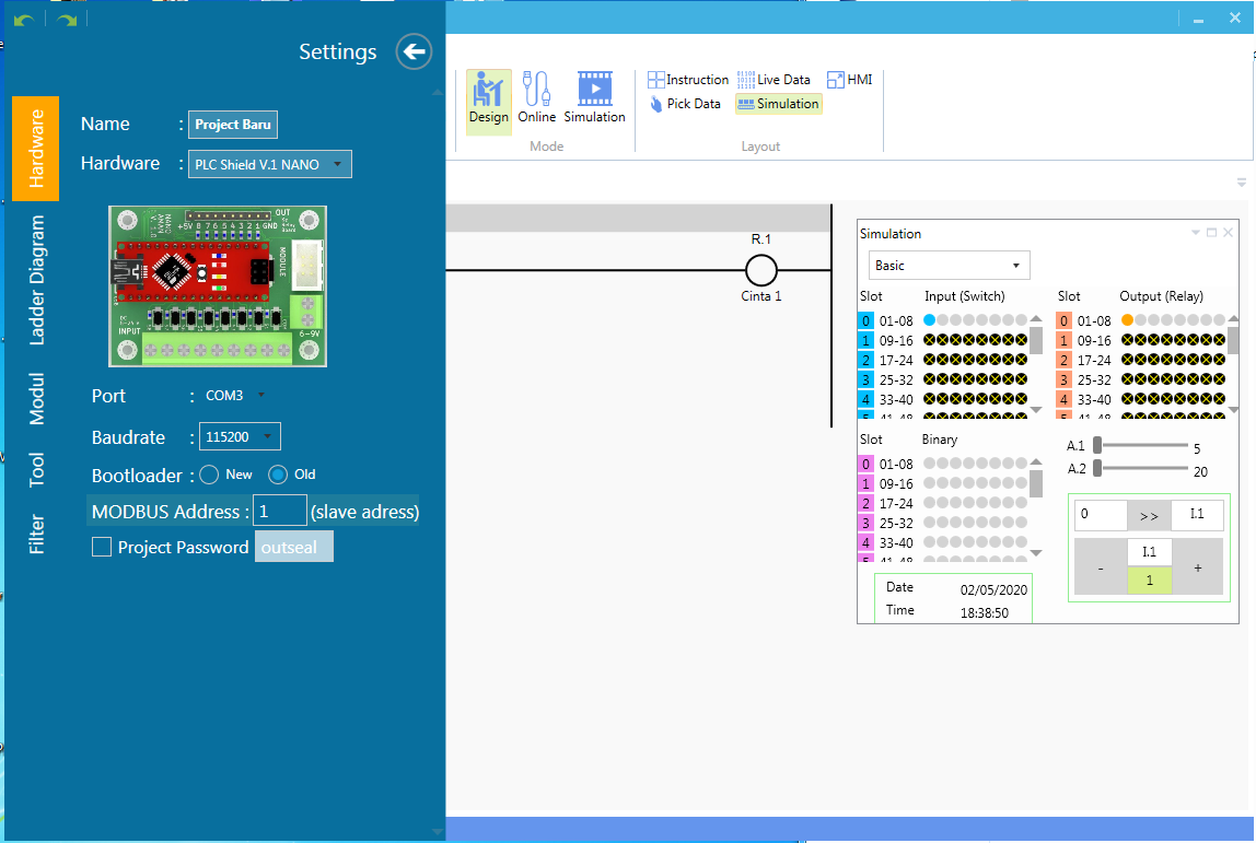 Seleccion del hardware editor ladder arduino plc