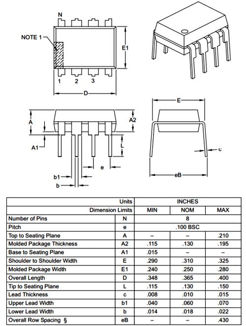 PIC12F508-Dimensions