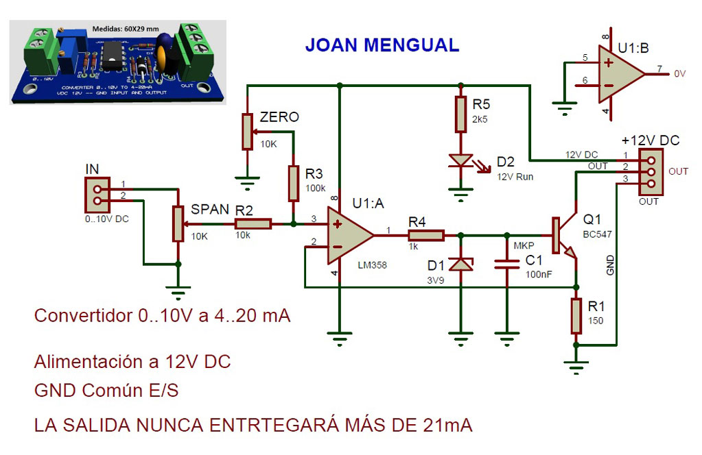 Interface-conversor-de voltaje a corriente-0-10V-a-4-20mA